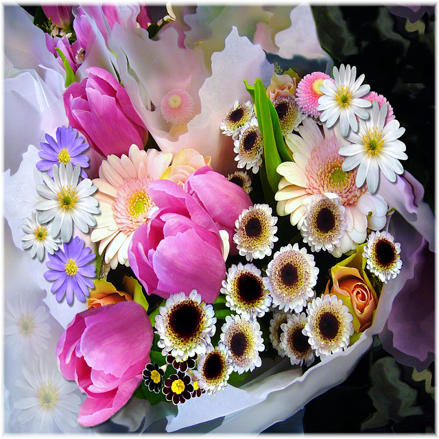 spring, bouquet, tulips, flowers, arrangement, bunch