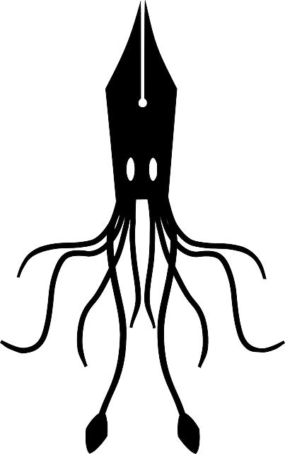squid, fountain, ink, pen, silhouette, abstract, animal