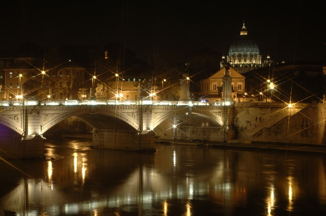 st peters basilica, rome, night, star filter