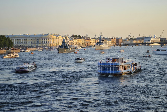 st  petersburg, russia, neva river, water, boats, ships