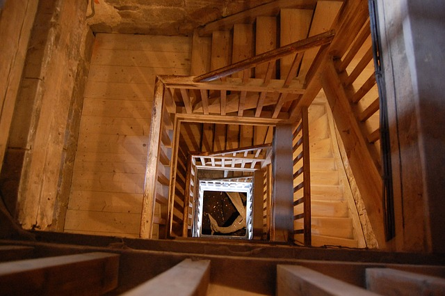 stairs, wood, steps, building, inside
