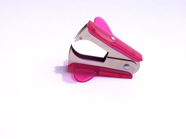 staple remover, pink, office, desk