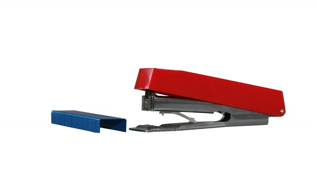 stapler, staples, red, isolated, white, background