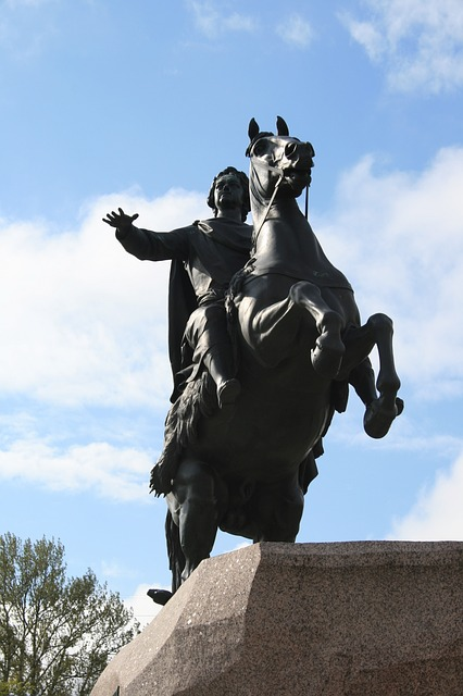 statue, bronze, equestrian, horse, rearing, rider