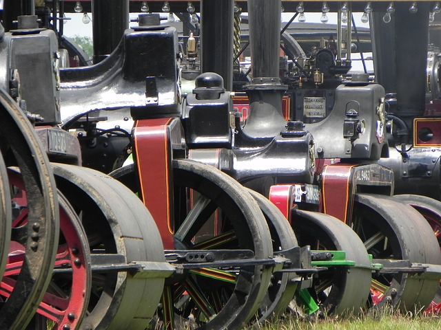 steam, engine, traction, old, roller, power