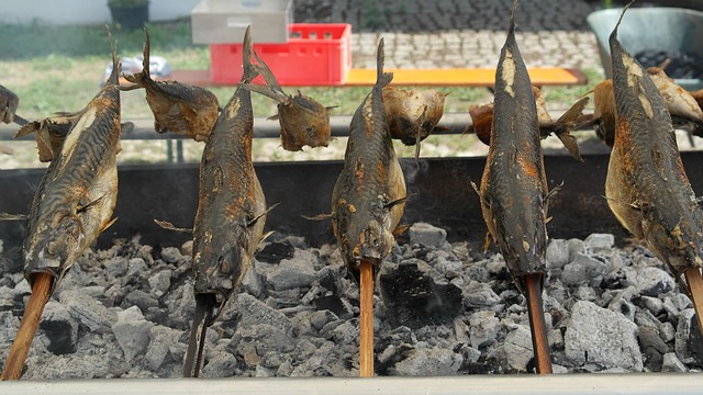 steckerlfisch, mackerel, grill, fish, charcoal, fire