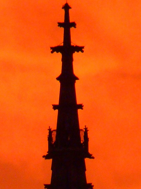 steeple, great, tower, münster, sunset, sun, sky, fire
