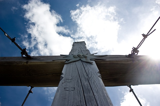 summit cross, sky, wood, mast, mountain, back light