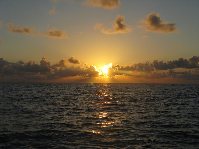 sunrise, ocean, sea, morning, water