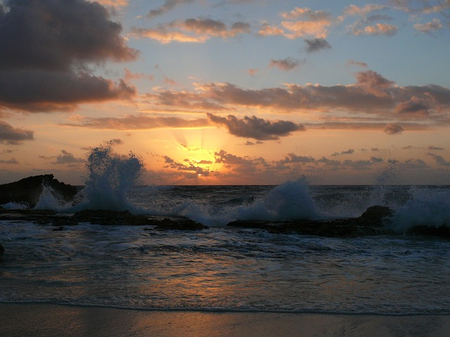 sunrise, sea, sun, sunset, ocean, waves, surf, beach