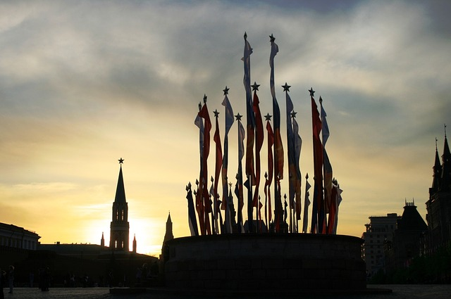 sunset, clouds, luminous, red square, historic