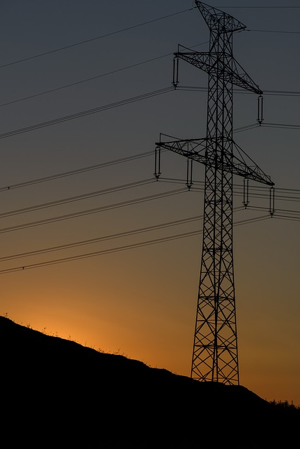 sunset, electric pylon, wires, lines, silhouette