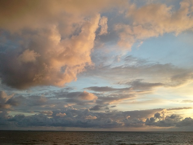 sunset, sea, clouds, beach, evening sky
