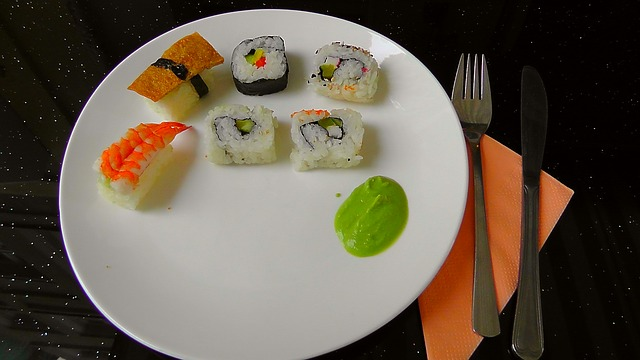 sushi, green, theme, plate, colorful, eat, rice dish