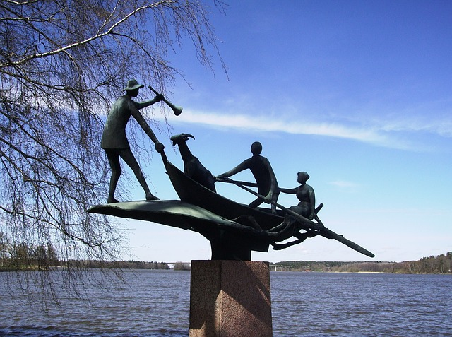 sweden, lake, water, forest, trees, woods, sculpture