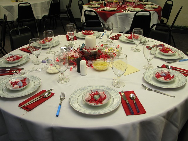 table, setting, red, white, valentine, romantic, party