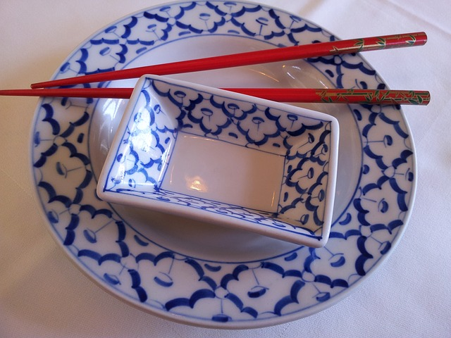 tableware, porcelain, asia, plate, blue, white
