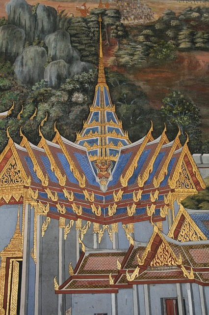 temple, painting, colourful, gold, blue, white, pointed