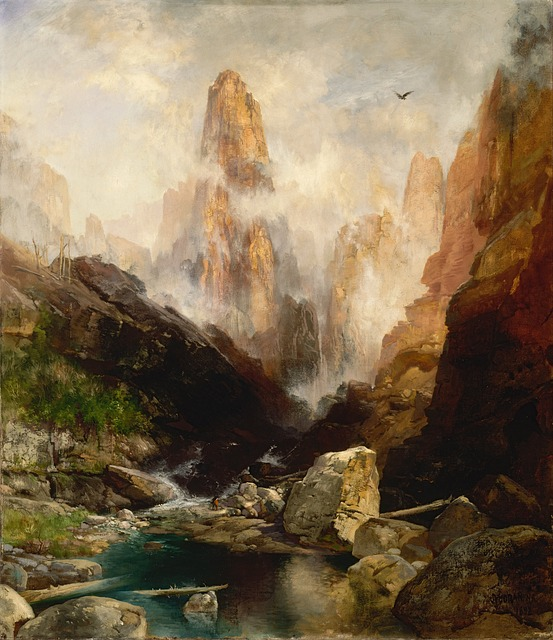 thomas moran, painting, oil on canvas, artistic, nature