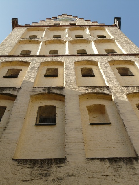 tower, white horn, window, looking up, high, height
