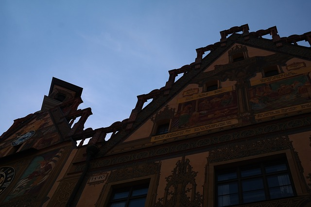 town hall, ulm, facade, painting, ulmer hall, frescoes