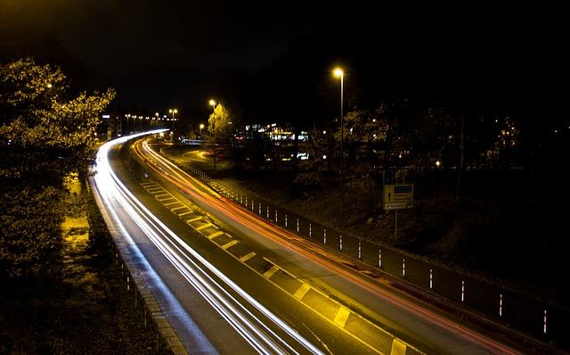 traffic, lights track, road, long exposure, night
