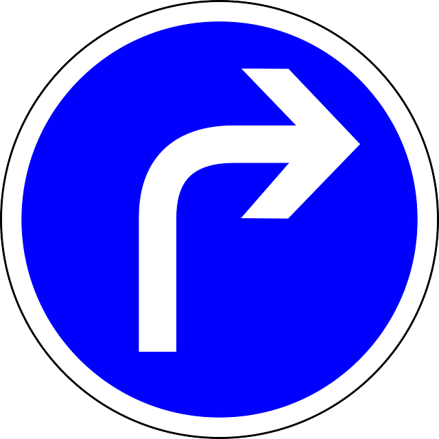 traffic sign, turn right ahead, turn, right ahead