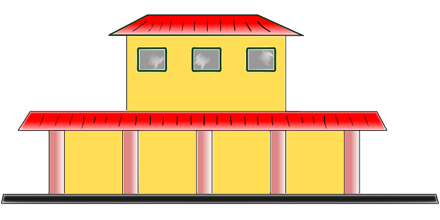 train station, building, house, simple