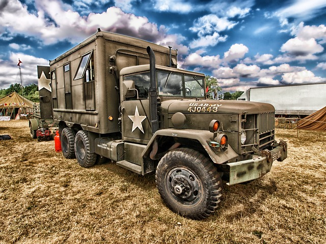 truck, army, vehicle, transportation, hdr, sky, clouds