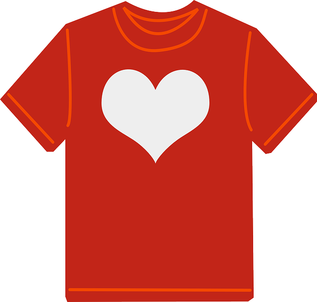 t-shirt, red, clothes, clothing, fashion, shirt, heart