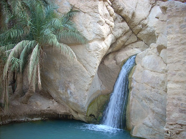 tunisia, rocks, rocky, waterfall, nature, outside