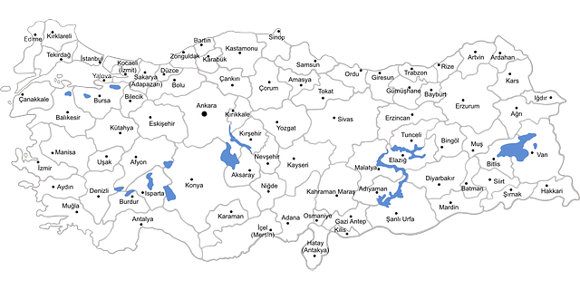 turkey, map, provinces, geography, europe, country