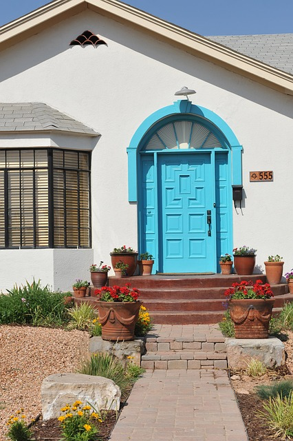 turquoise, color, door, entrance, architecture, house