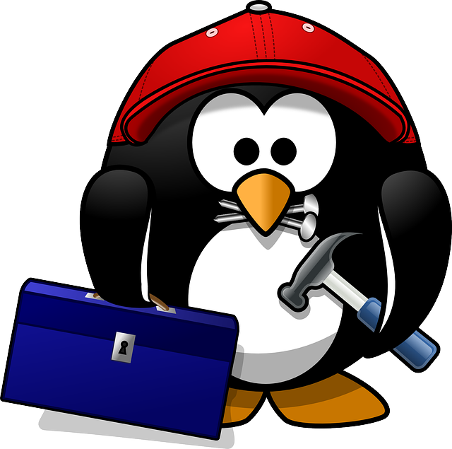 tux, animal, baseball cap, bird, build, builder, cap