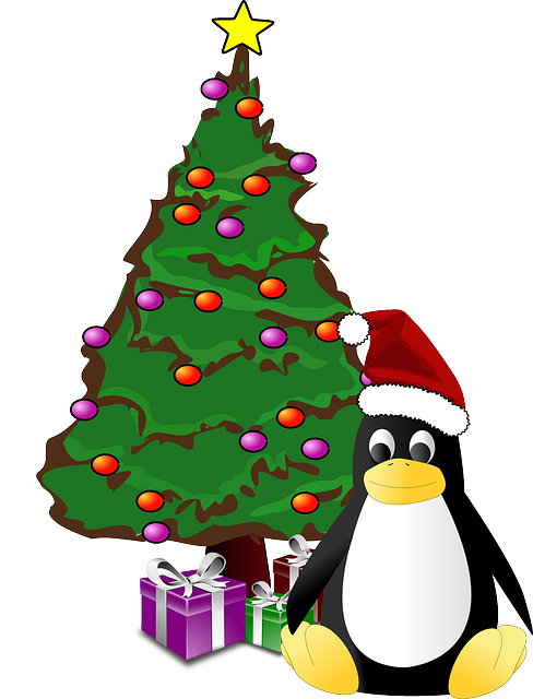 tux, penguin, christmas tree, presents, christmas, xmas