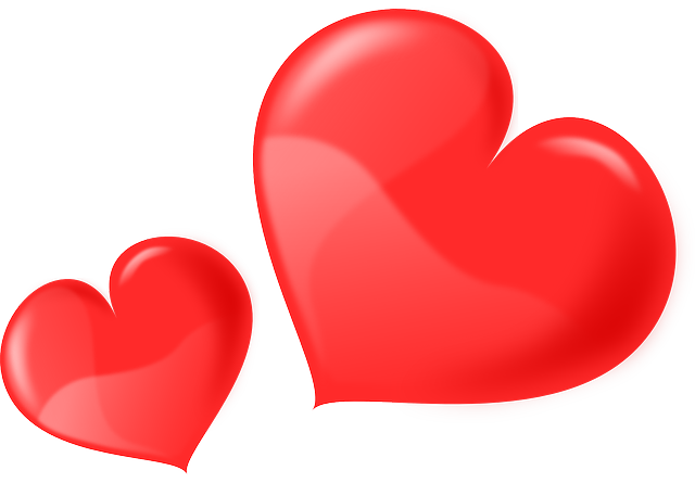 two, glossy, heart, love, hearts, valentine, roses