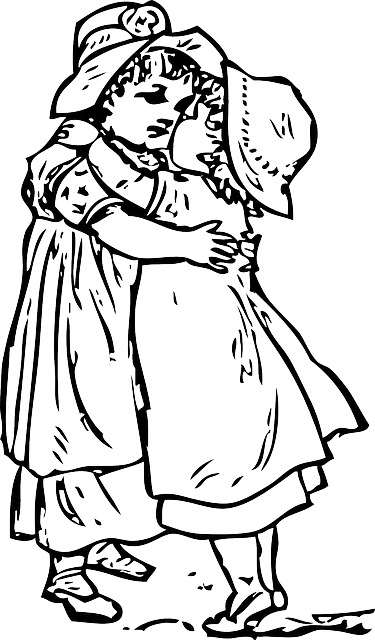 two, outline, people, boy, girl, young, kids, cartoon