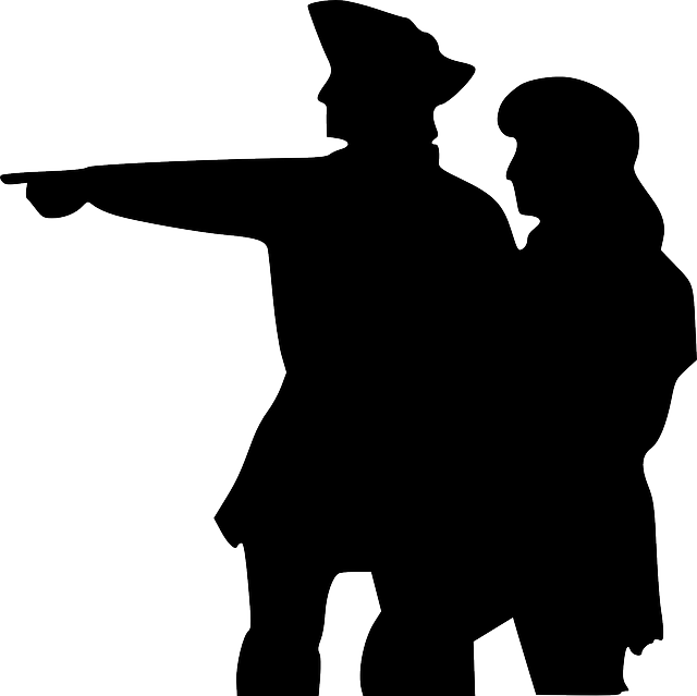 two, people, silhouette, pointing, sailors, point
