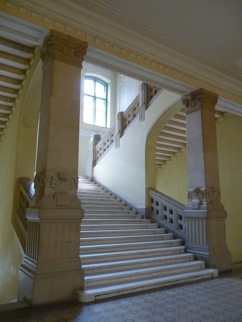 university, stair, staircase, column, fancy, window