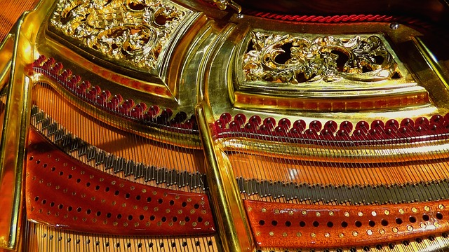 verziehrung, gold, golden, piano, music, pianos, sound