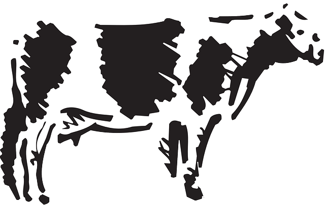 view, drawing, sketch, farm, cow, side, animal