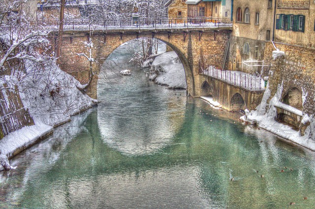 village, river, house, bridge, lovely, hdr