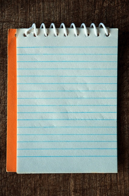 vintage, notebook, orange, blue lines, paper, wire-o