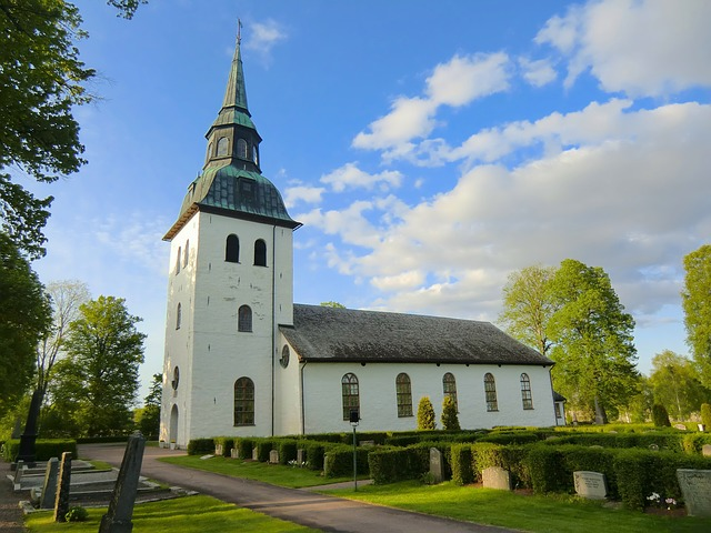 värmland, sweden, church, cemetery, trees, sky, clouds