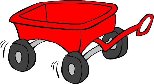 wagon, cart, trolley, kid, toy, red