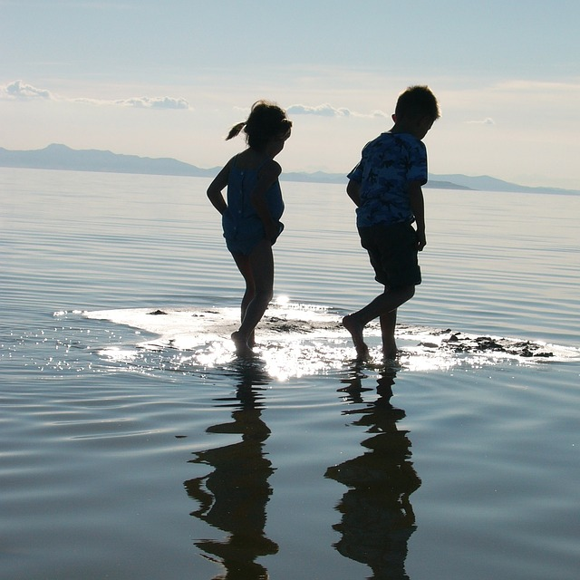 walking on water, kids, magic, great salt lake