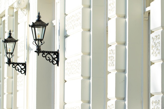 wall, house, architecture, england, lamps, lights