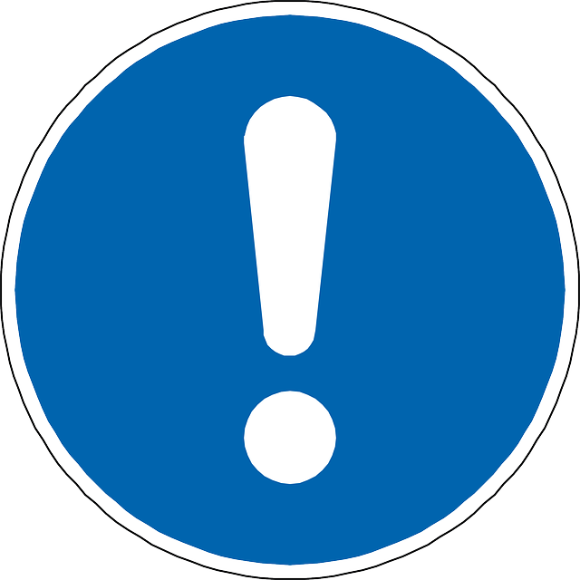 warning, attention, exclamation mark, mark, blue, sign