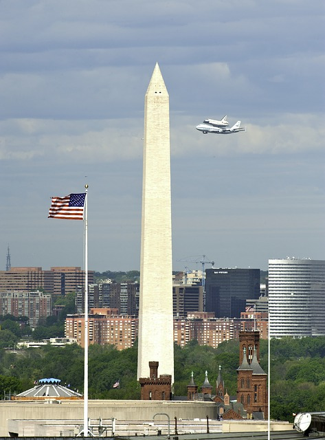 washington monument, sky, clouds, plane, jet