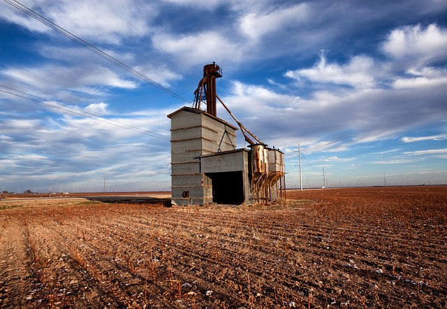 wastella, texas, grain elevator, abandoned, sky, clouds